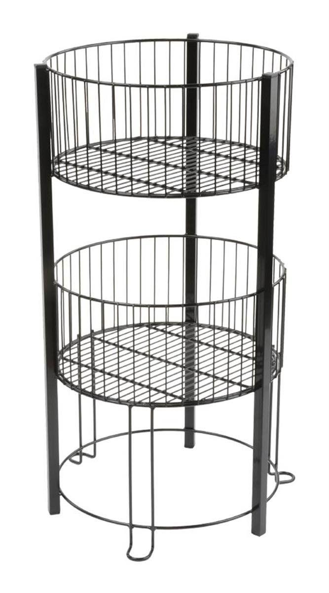 Displays2go 2-Tier Wire Dump Bin for Floor Displays 16-Inch Round ...
