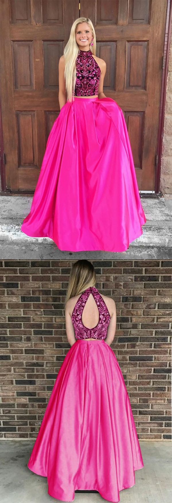 Two Piece High Neck Open Back Satin Hot Pink Prom Dress with Beading ...