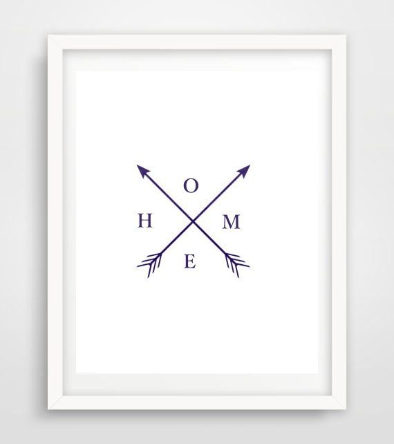 Arrow Home Print, Arrow Art, Navy Arrows, Home, Printable Wall Art, Modern Wall Print, Instant Download, Home wall Art  This is a digital file,