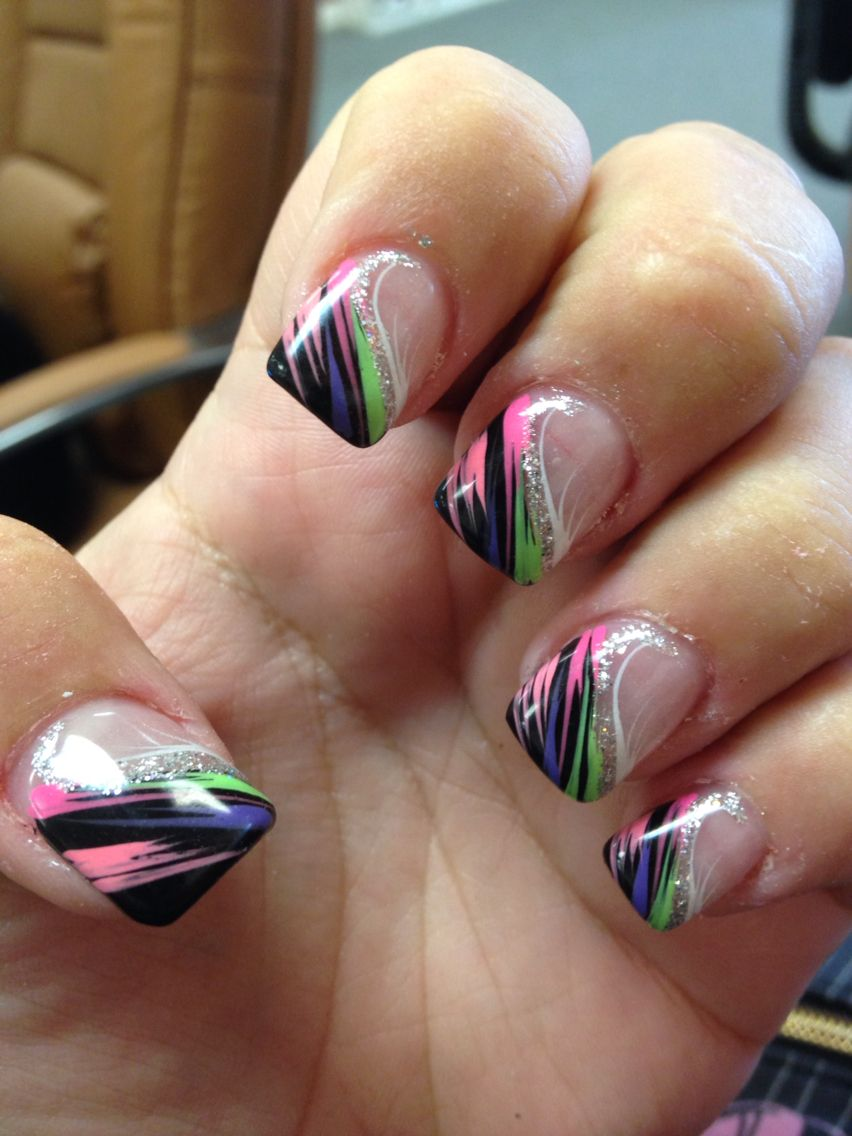 Black And Neon Nails