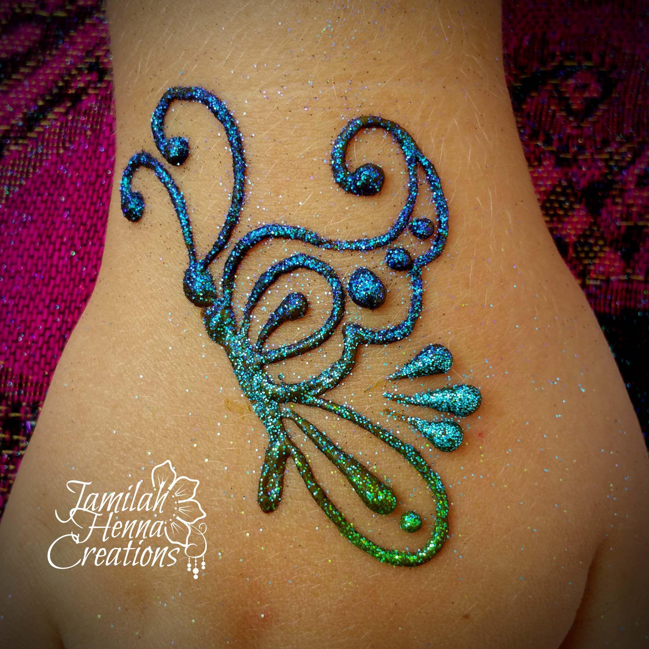 butterfly henna Glitter