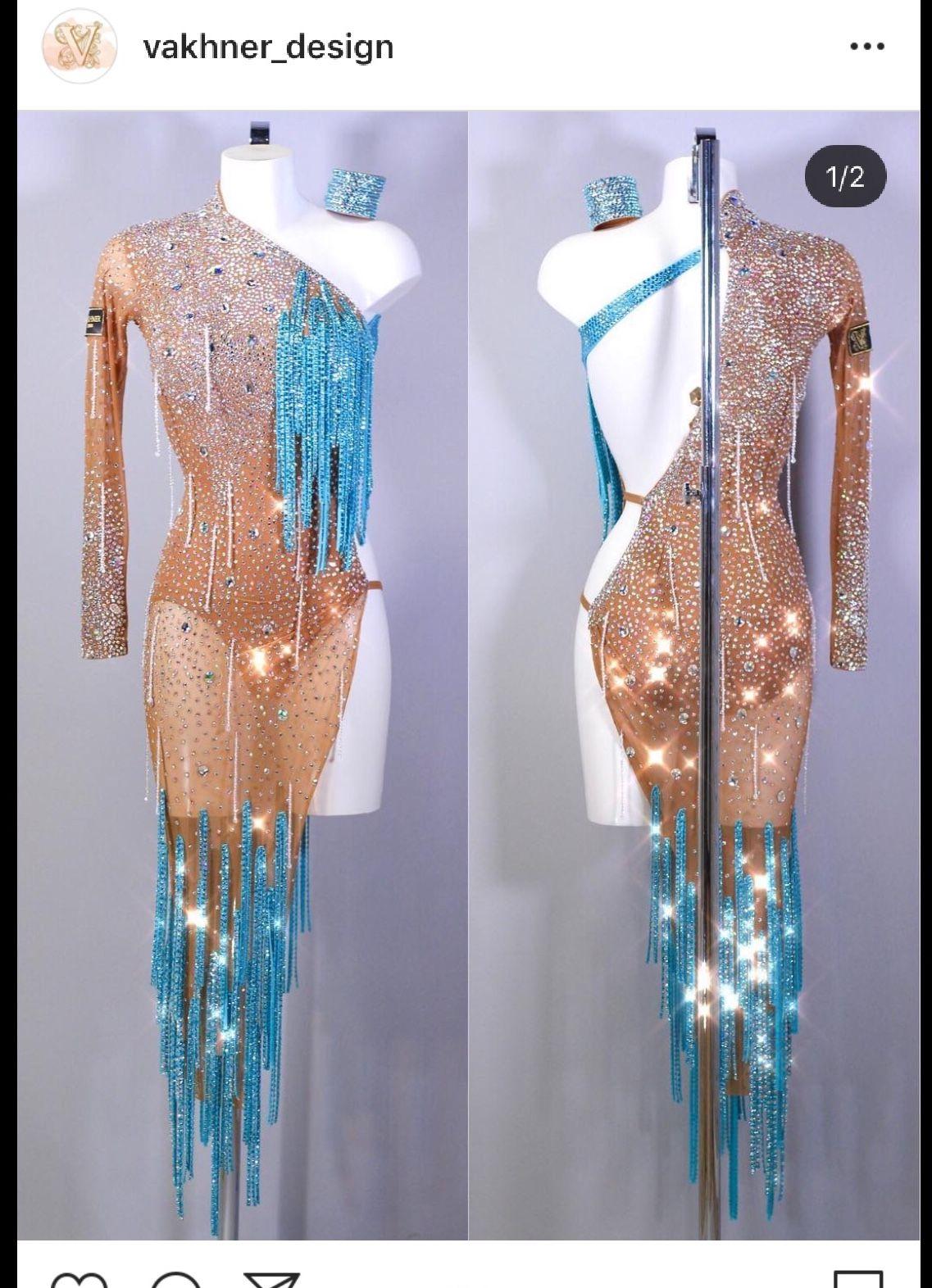 273f9e0fcb Pin do(a) Sonia Rolim Soles em Vestidos dança salão de 2019 ...