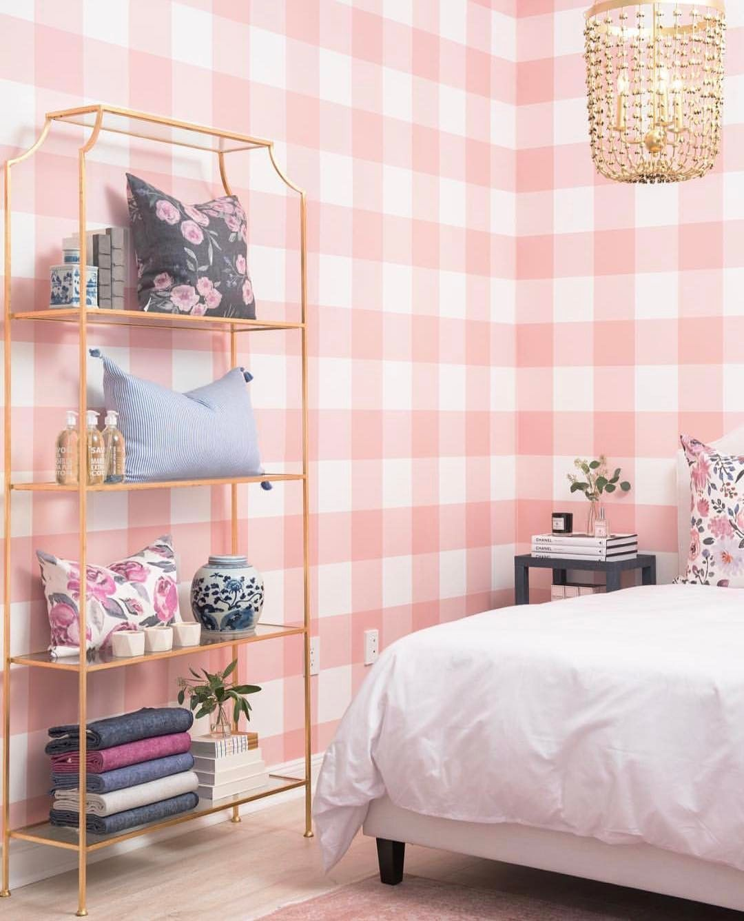 Pink White Large Gingham Check Wallpaper Home decor