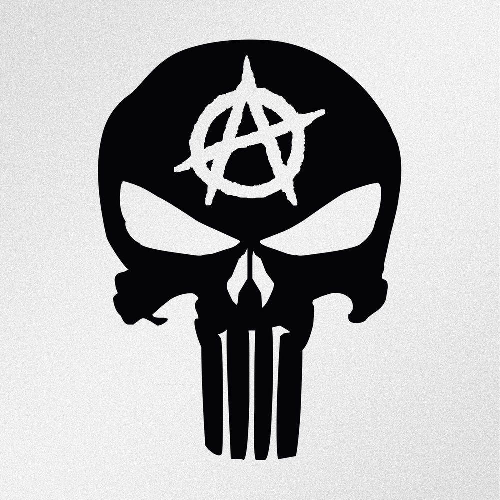 Details about Punisher Skull Anarchy Symbol Car Laptop
