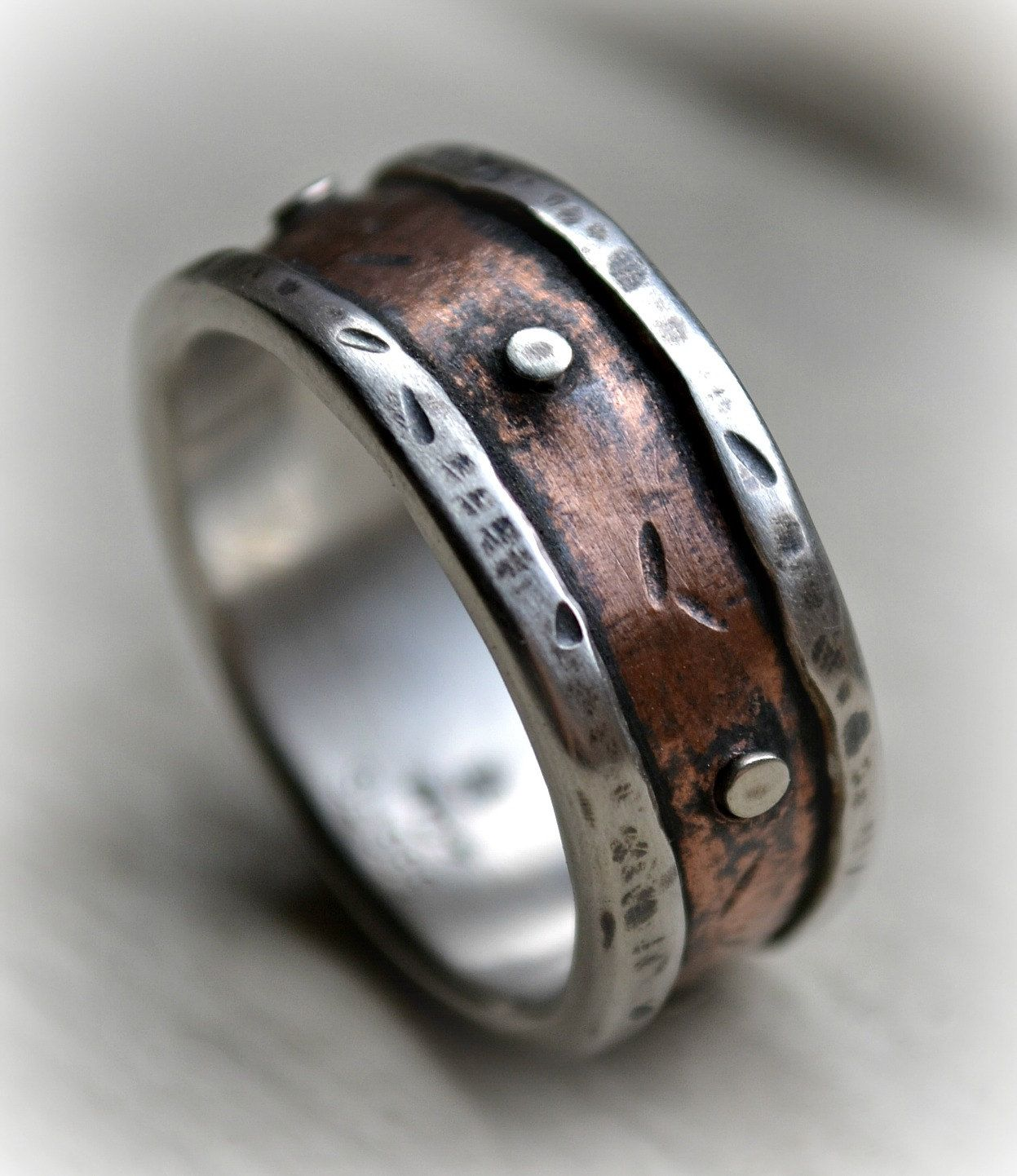 Mens Rustic Wedding Ring Rustic Fine Silver And Copper Or
