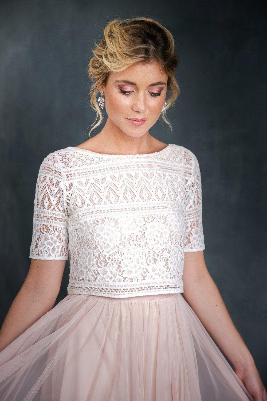 Spitzentop, Weiß, für die Braut - Violet | Kleid hochzeit
