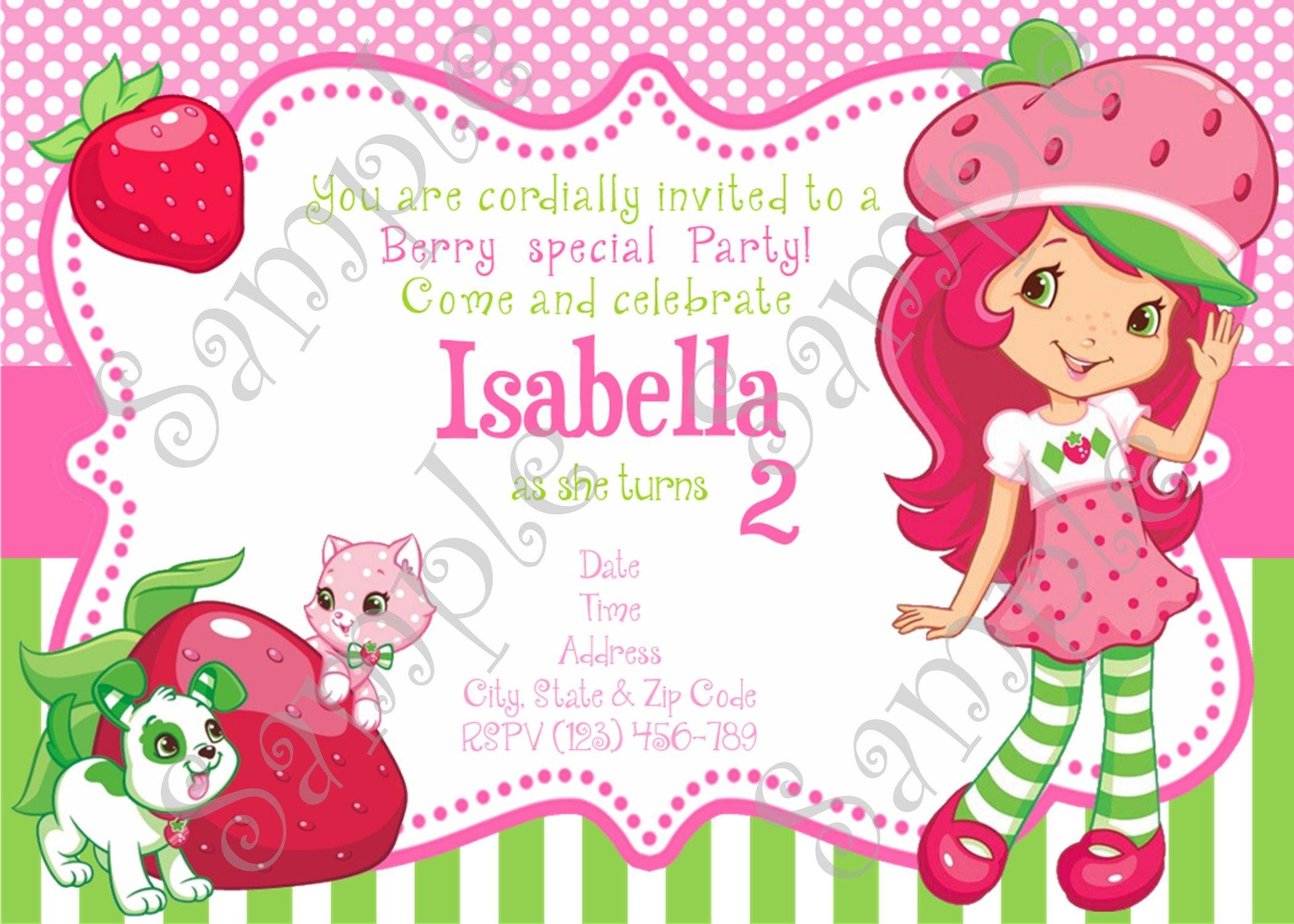 Strawberry Shortcake Pool Party Invitation Strawberry Shortcake