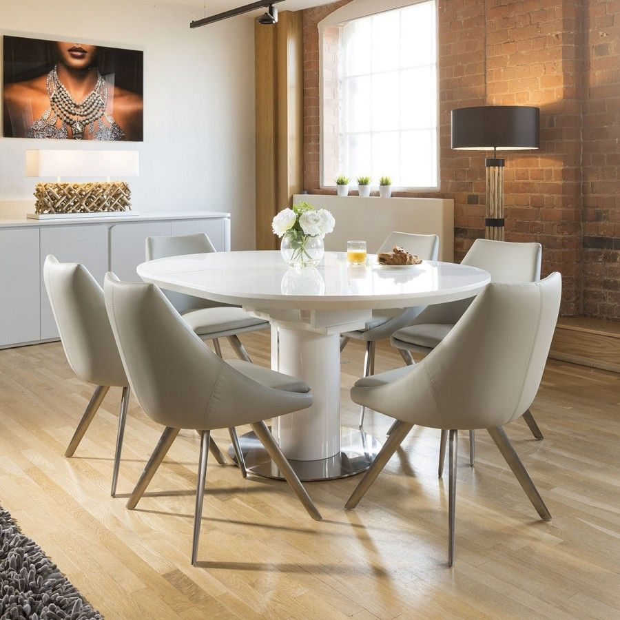 Extending Round Oval Dining Set White Gloss Table 6 Ice