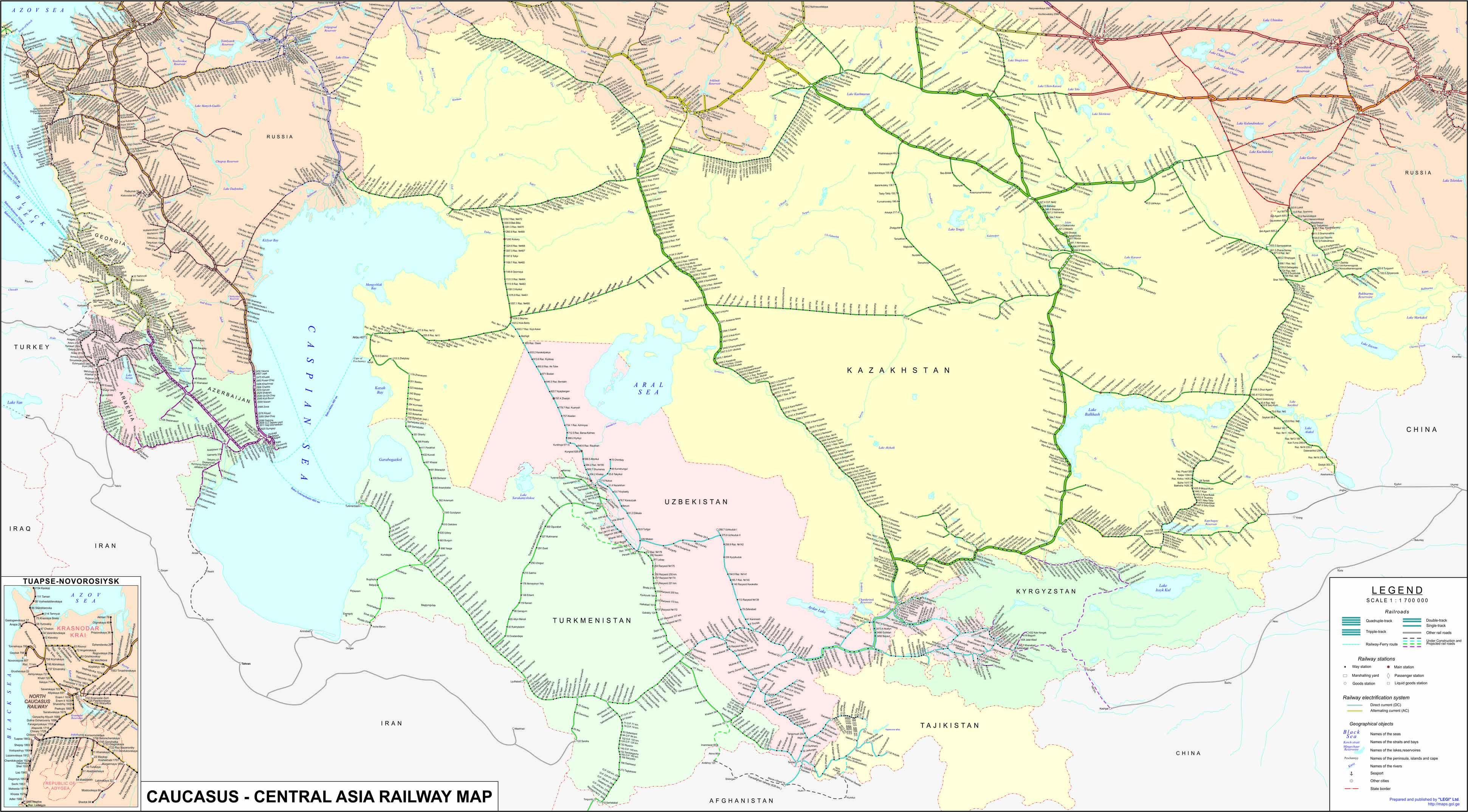 Map Of Asia Railways.Caucasus Central Asia Railway Map ტტტტ Map