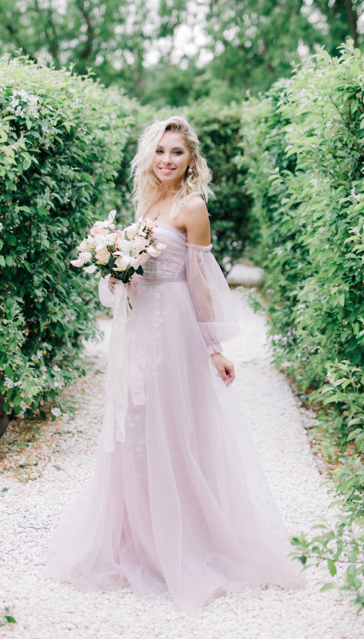 Blush pink wedding dress by dreamdress bohemian off