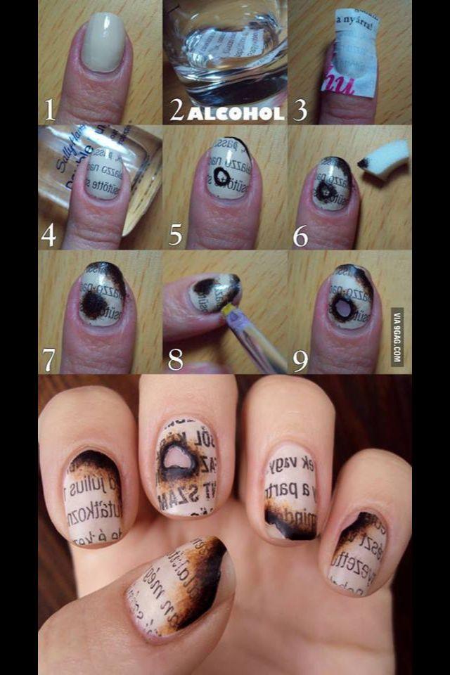 Burnt Book Nails #nailart #nails #burntpaper
