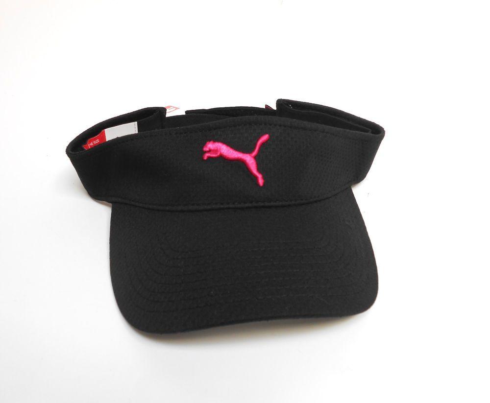 PUMA Visor Cap Black Pink Cat Womens Adjustable Running Golf Tennis  PUMA   Visor   NEWHATCITY a14a34ed1f0