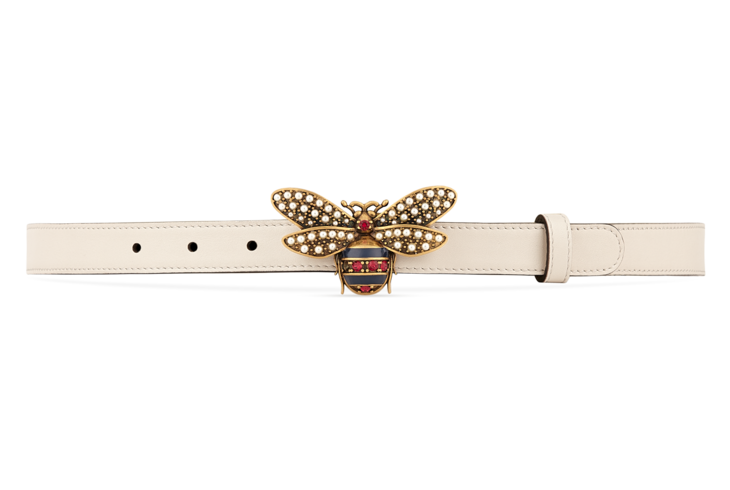 894c28e76 Shop the Queen Margaret leather belt by Gucci. The Queen Margaret line  mixes iconic Gucci