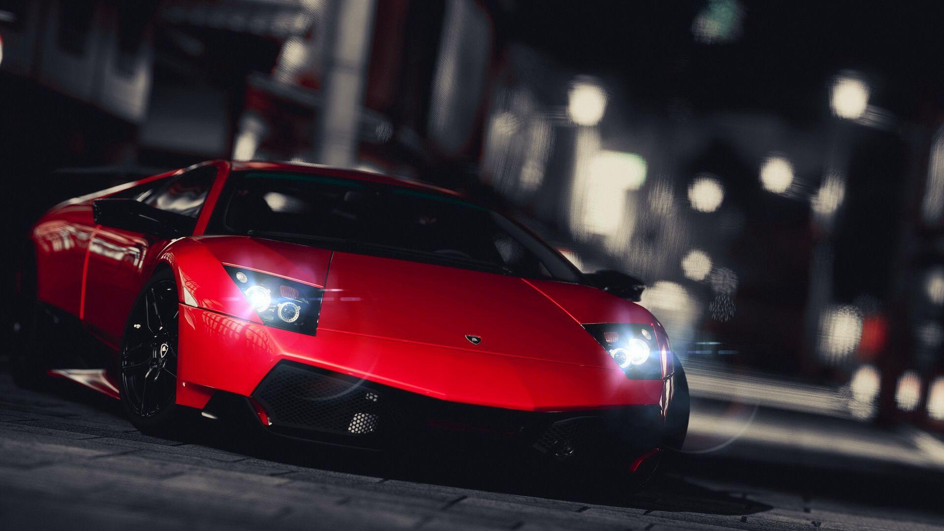 A View Of It At Night Red Lamborghini Lamborghini Cars