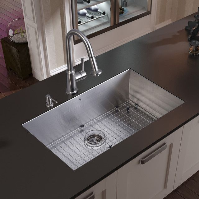 VIGO Undermount Stainless Steel Kitchen Sink, Faucet, Grid, Strainer And  Dispens   Modern   Kitchen Sinks   VIGO