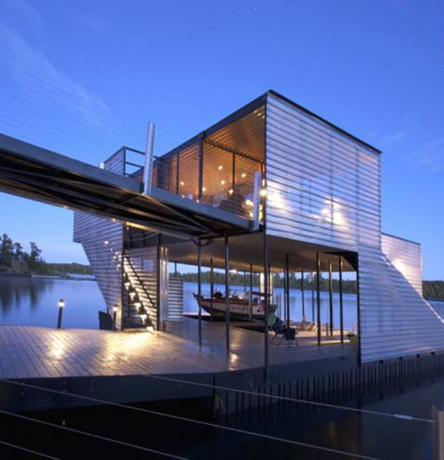 With A Dock This Awesome Who Needs A House Aluminum Planks - Awesome floating house shore vista boat dock by bercy chen studio