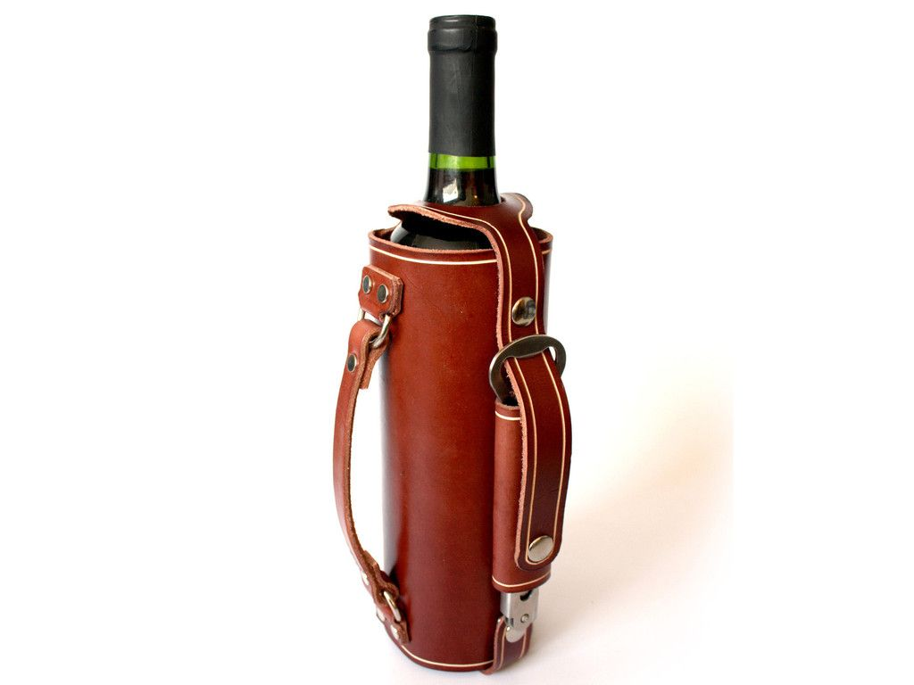 Leather Wine Bottle Holder With Stainless Steel Opener And Carrying Handle Leather Wine Holder Wine Bottle Holders Wine Bottle Covers