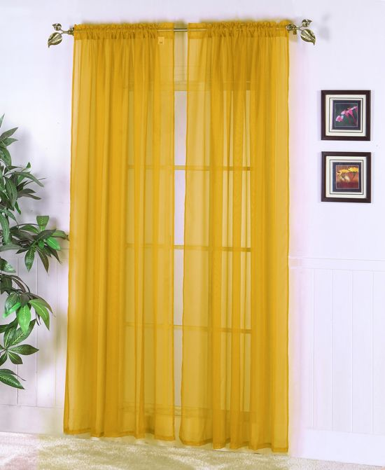 Mustard Yellow Sheer Abby Curtain Colors