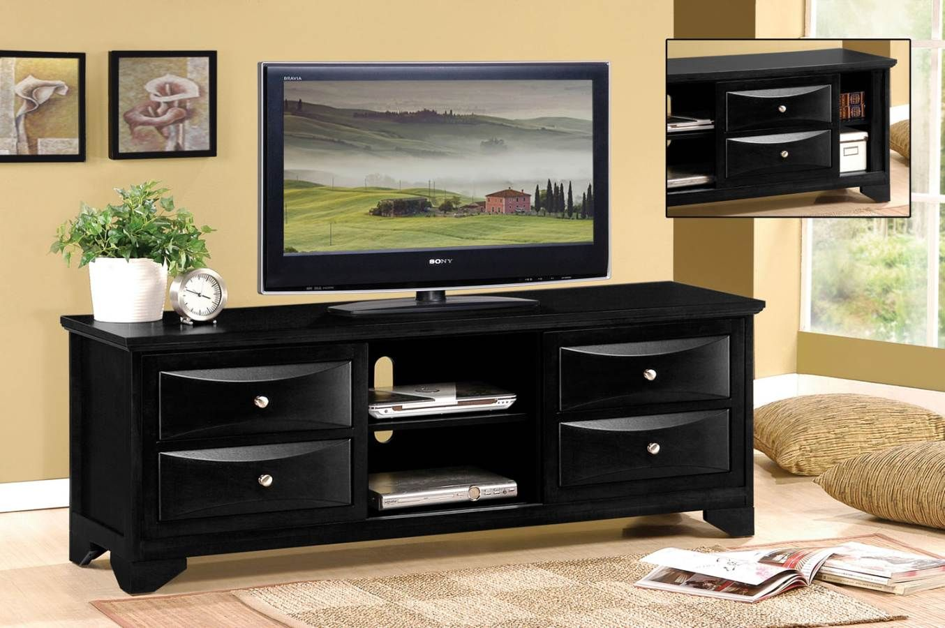 Transitional Black Tv Stand Tv Stand Luxury Tv Stand Black Wood Tv Stand With Drawers