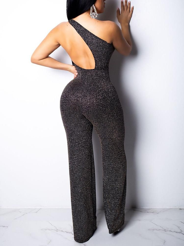 dd84cc62 Glitter One Shoulder Cut Out Back Jumpsuit #One Shoulder jumpsuit outfit  #One Shoulder jumpsuit black wide legs #One Shoulder jumpsuit black rompers  #One ...