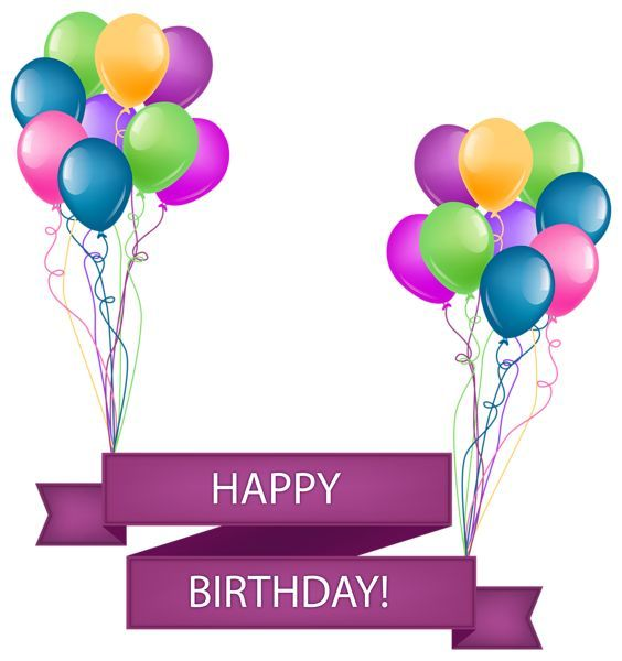 happy birthday banner with balloons transparent png clip art image rh pinterest ca happy birthday clip art in german happy birthday clip art photos