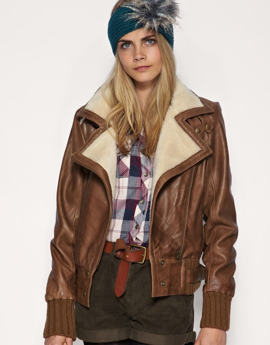 natural leather aviator jacket for women street style. Black Bedroom Furniture Sets. Home Design Ideas