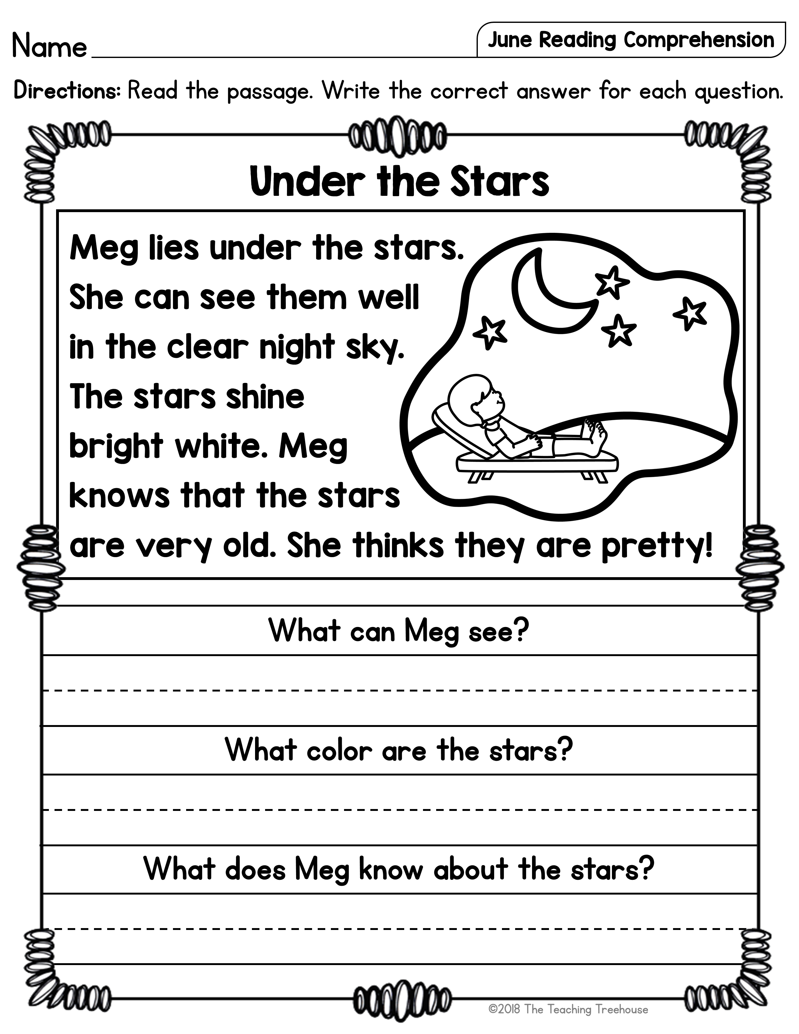 - June Reading Comprehension Passages For Kindergarten And First