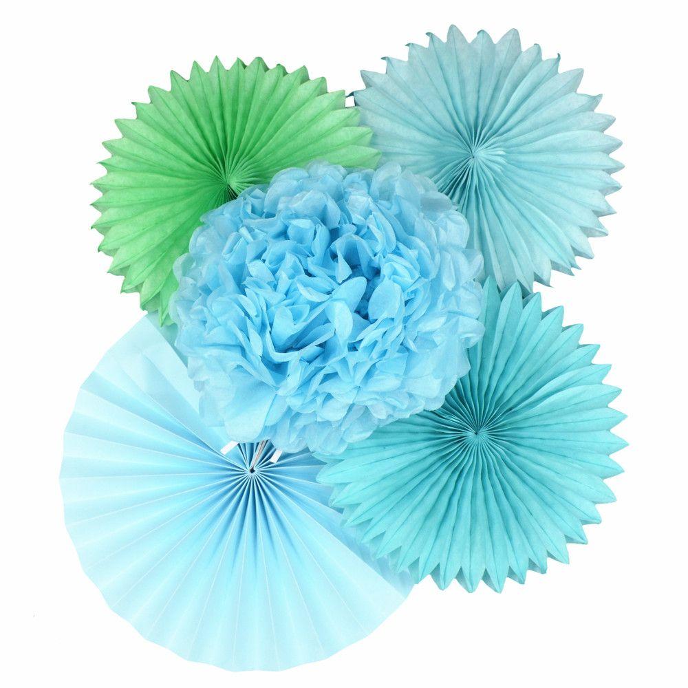 Blue Color Wedding Party Decorations Kids Paper Folding Fan Diy