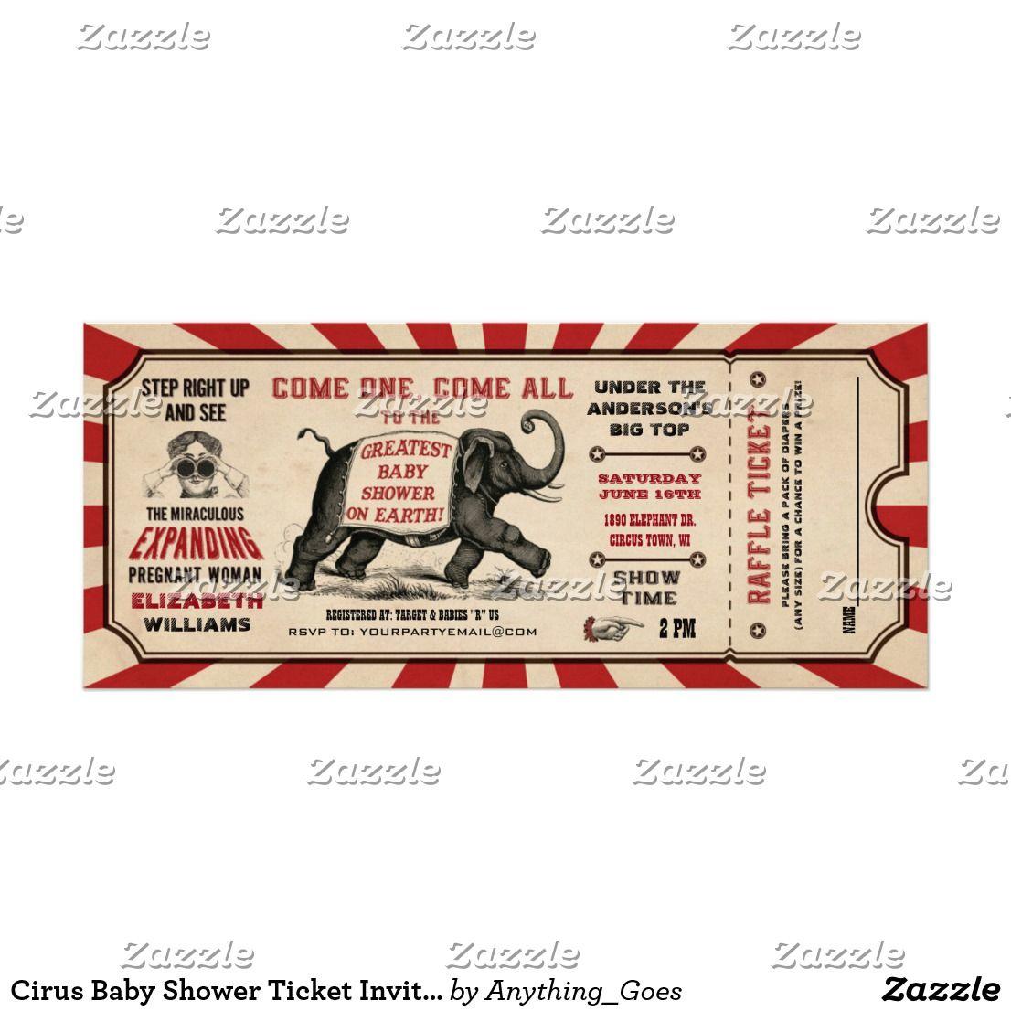 Cirus Baby Shower Ticket Invitations Raffle   Baby Shower ...