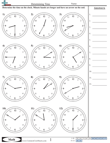 Time Worksheets Time Worksheets Common Core Math Worksheets Math