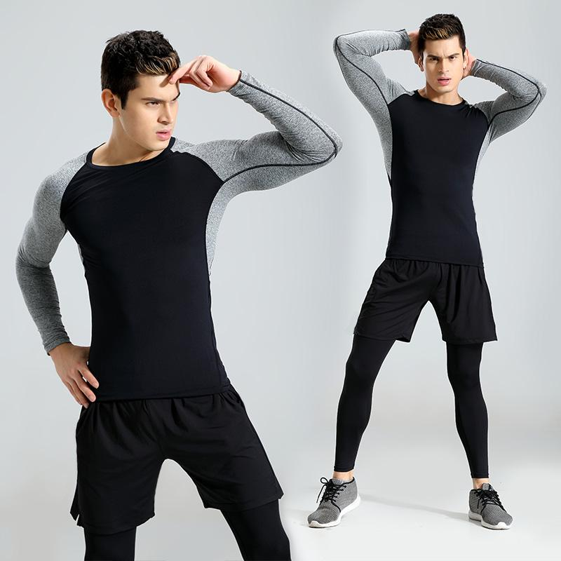 Men Elastic Fitness Gym Sports Suit,Mens Causal Elastic Fitness Short T-Shirt Fast Drying Tops Pants Sports Tight Suit