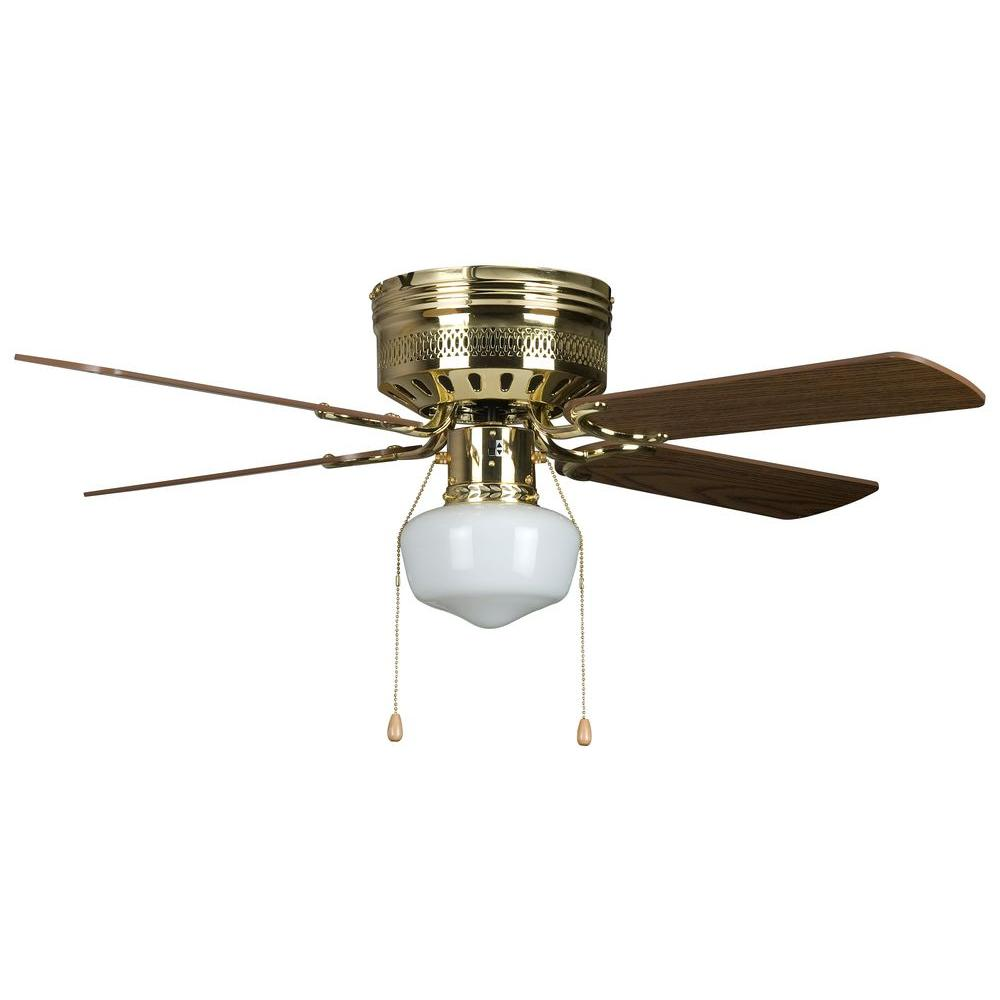 Concord Fans Hugger Schoolhouse Series 42 In Indoor Polished Brass Ceiling Fan 42hug4bb Yg6 The Home Depot Brass Ceiling Fan Ceiling Fan Ceiling Fan With Light