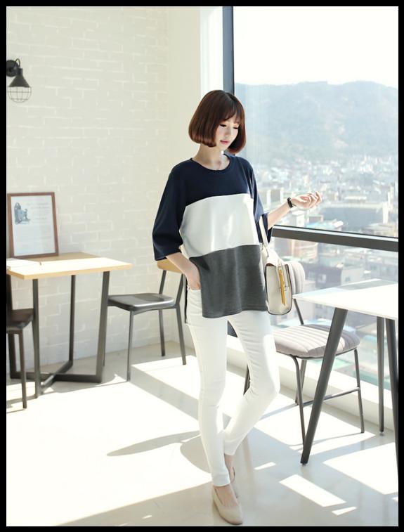 3/4-Sleeve Color-Block #Top #cute #koreanfashion