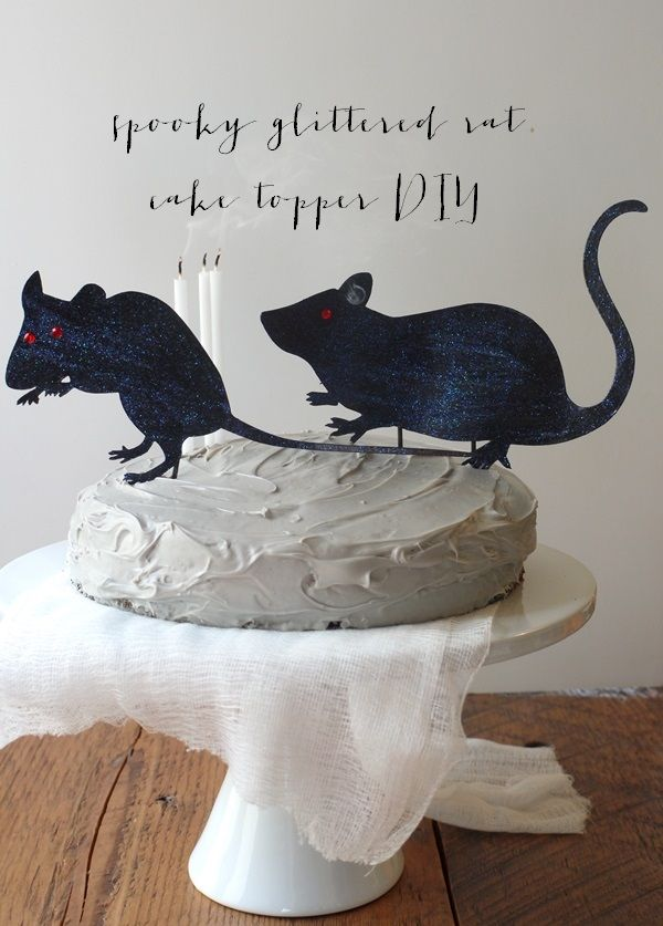 spooky glittered rat cake topper diy valley co lifestylee - Martha Stewart Halloween Cakes