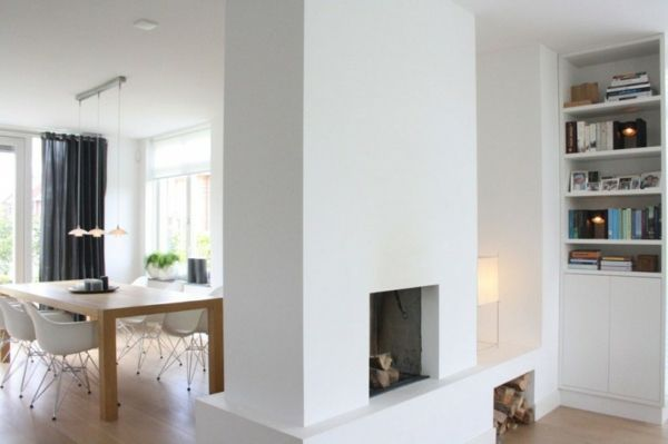 modernes herrliches haus design arbeitsplatte küche weiß Kamin - wohnzimmer kamin design