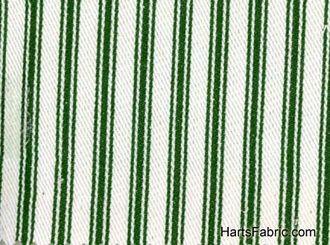Woven Cotton Ticking Fabric Dark Green On White