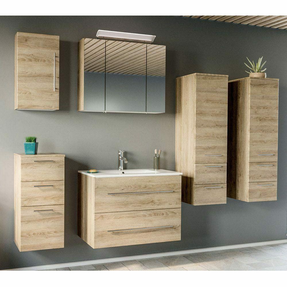 Badmobelset Badezimmer Eiche 80cm Keramik Waschtisch Spiegelschrank Hochschranke In 2020 Badezimmer Set Badezimmer Eiche Spiegelschrank