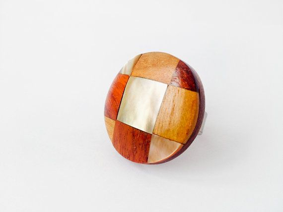1960's Checked Chess board wood Ring with Pearl  by SpaceMauve, $22.00