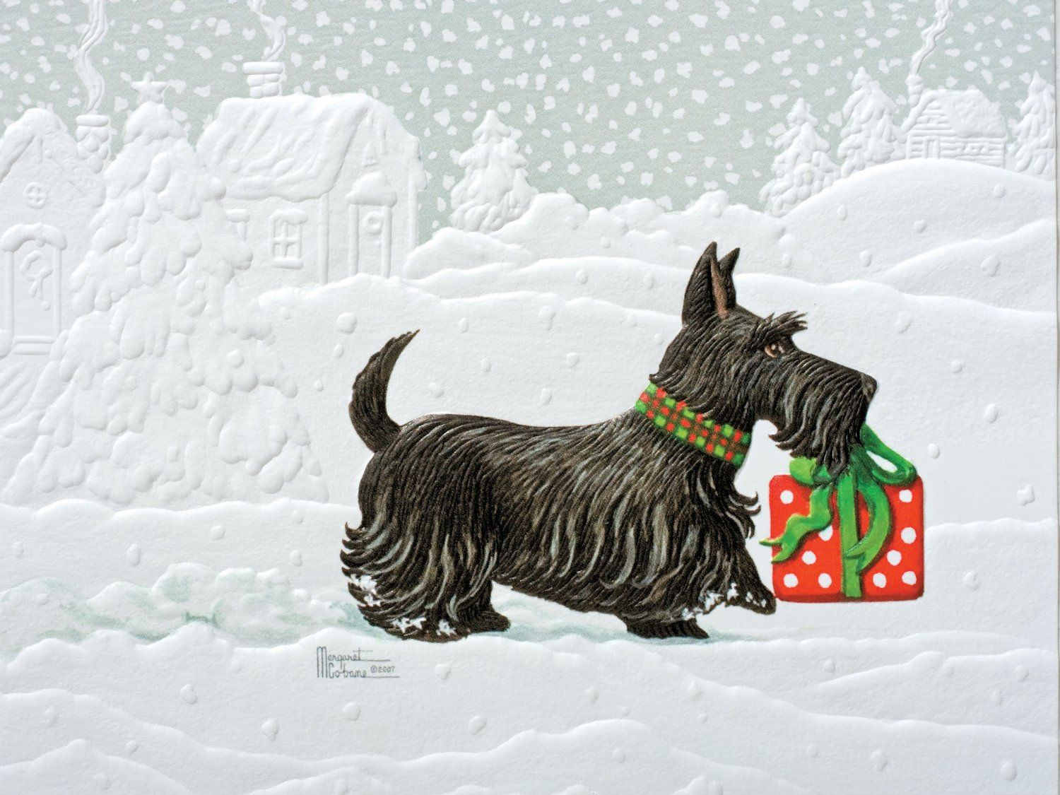 Pumpernickel Press Petite Boxed Christmas Cards, Scotty Dog