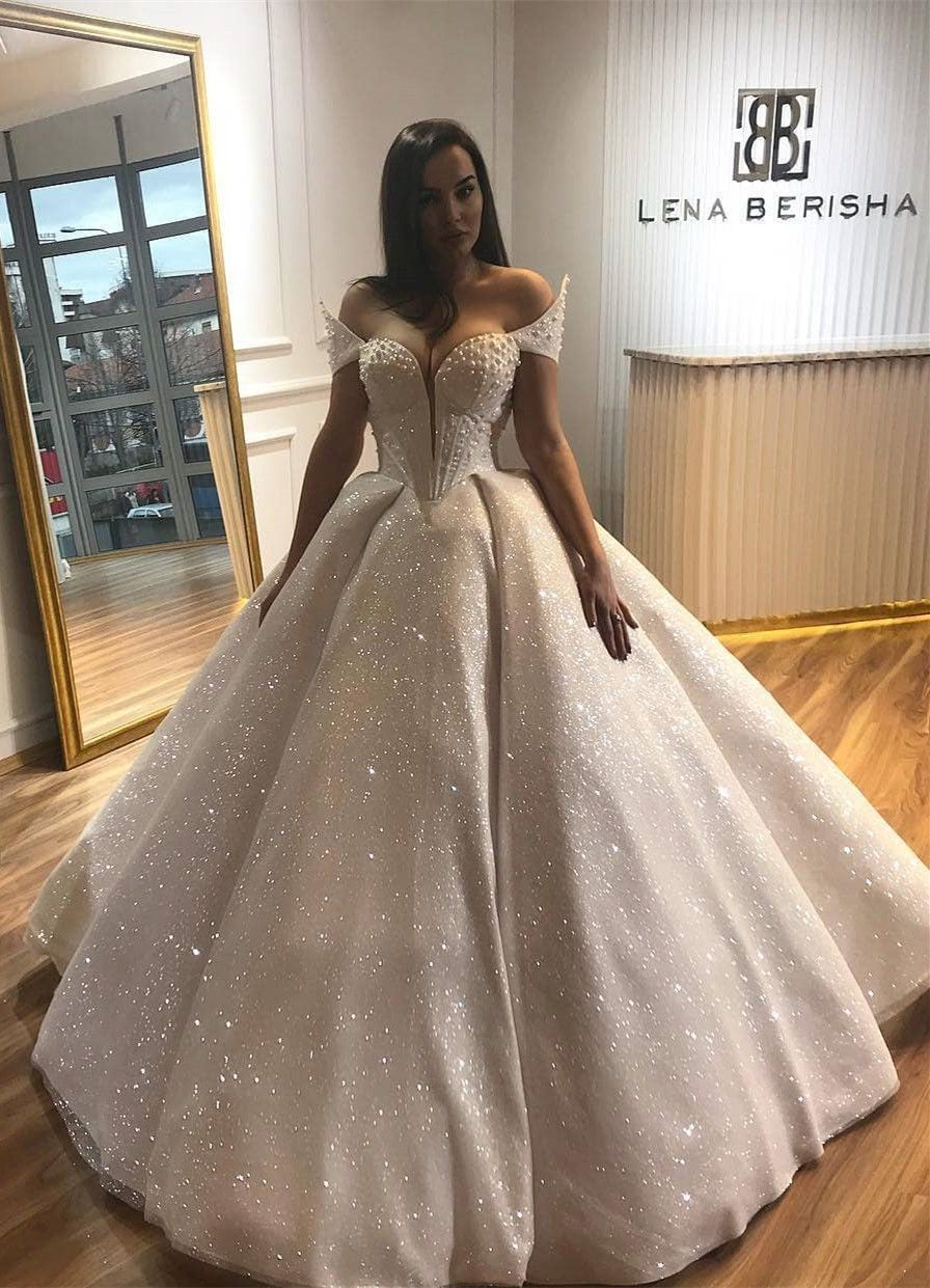 Sparkle Off Shoulder Wedding Dresses With Appliques Gorgeous Ball Gowns For Formal Wedding Wed Shiny Wedding Dress Ball Gown Wedding Dress Ball Gowns Wedding [ 1241 x 896 Pixel ]