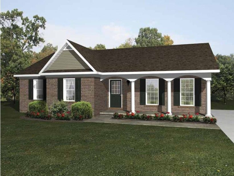 European Style House Plan 3 Beds 2 Baths 1238 Sq Ft Plan 14 247 Brick Ranch House Plans Ranch House Plan Brick Ranch Houses