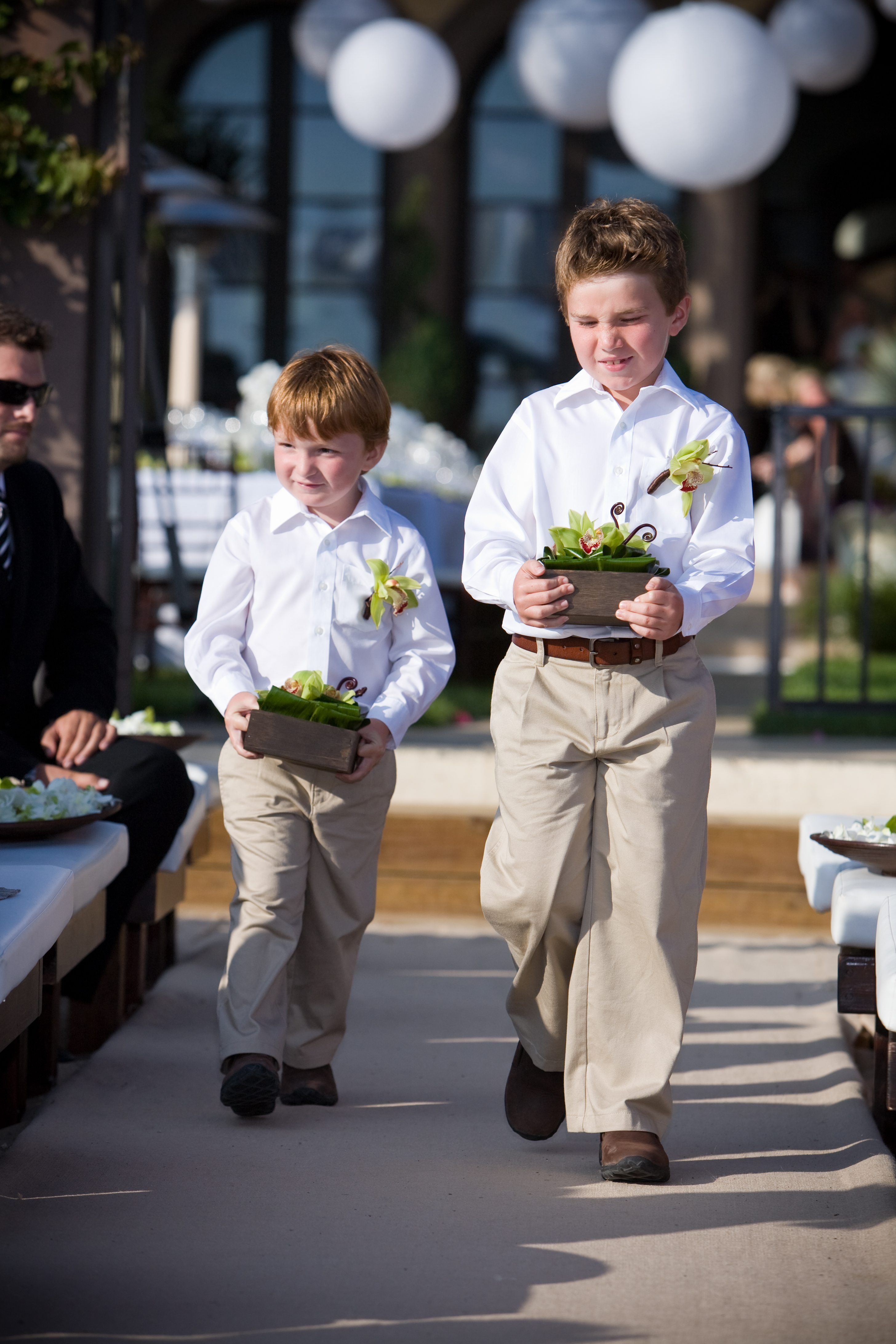 The Ring Bearers Wore Khaki Pants And White Collared Shirts With Green Orchid Boutonnieres Perfect