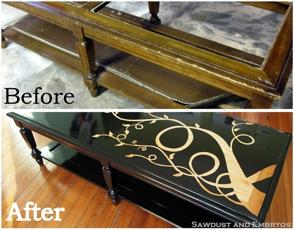 tutorial: refinishing furniture with a wood grain stencil