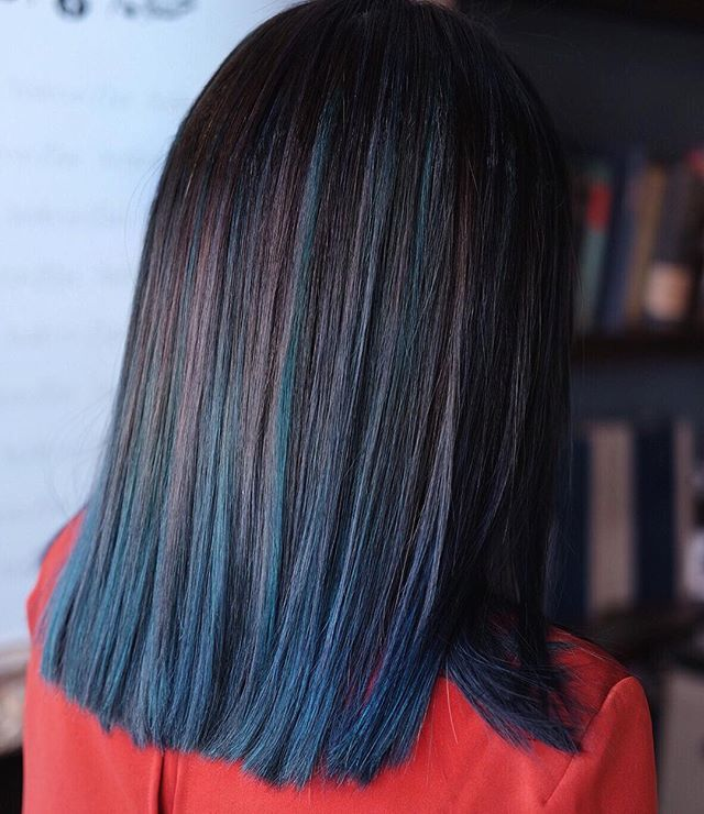 Cerulean Green X Midnight Blue Balayage Greenbluehair