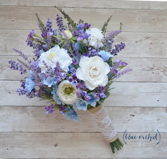 Rustic Wedding Bouquet Blue And Lavender Wildflower Bouquet By