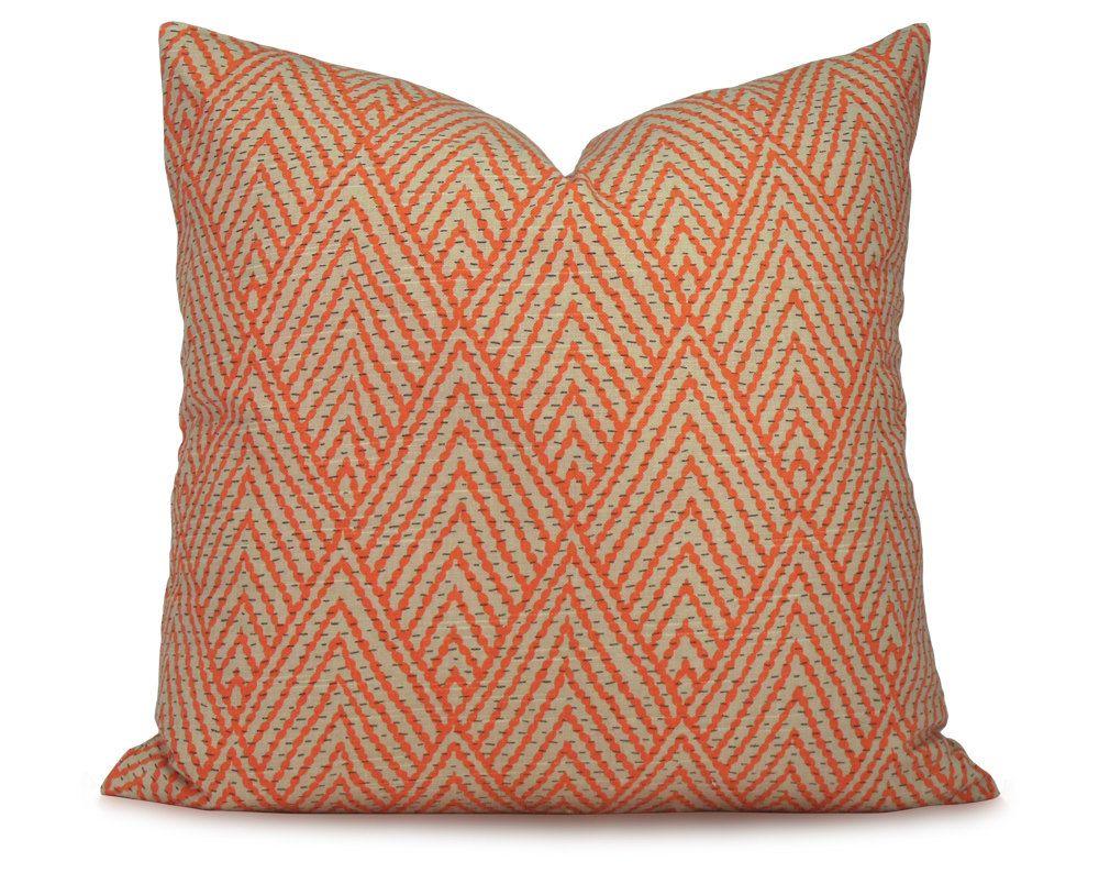 Orange Tan Stylized Chevron Pillow Cover Tahitian Stitch Tangerine Decorative Pillow Throw Pillow Chevron Pillows Chevron Pillow Covers Throw Pillows