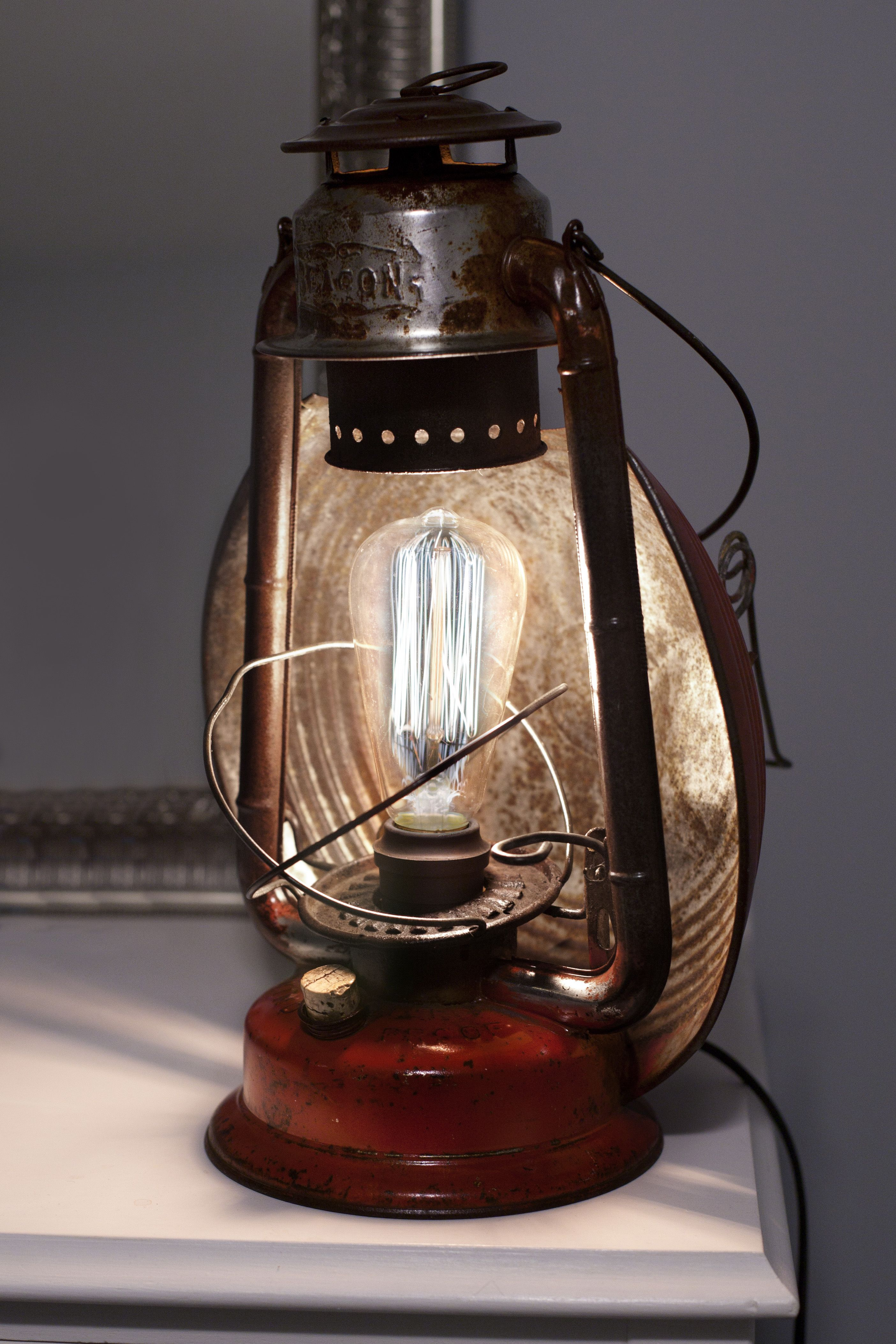 Vintage Beacon Edison Lamp, Red, Upcycled, Lantern by House of the ... for Lamp Product Photography  183qdu