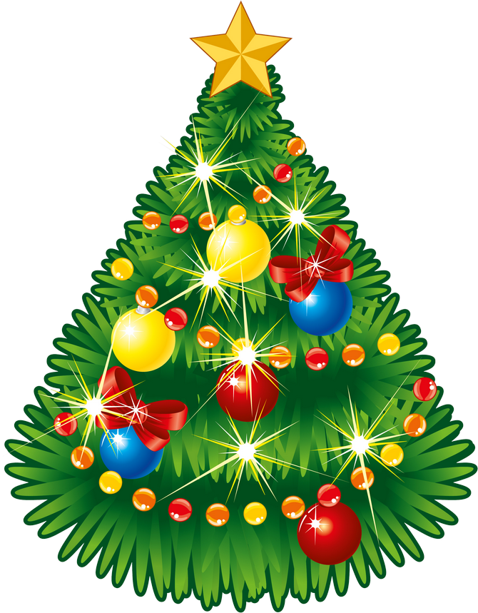 Transparent Christmas Tree With Star PNG Clipart