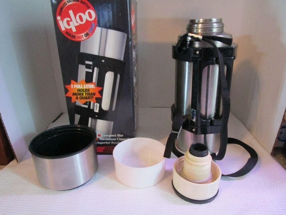 Igloo Thermos 1617 Stainless Steel 1 Liter Vacuum Bottle Travel Mug Hot Cold Igloo Vacuum Bottle Mugs Bottle