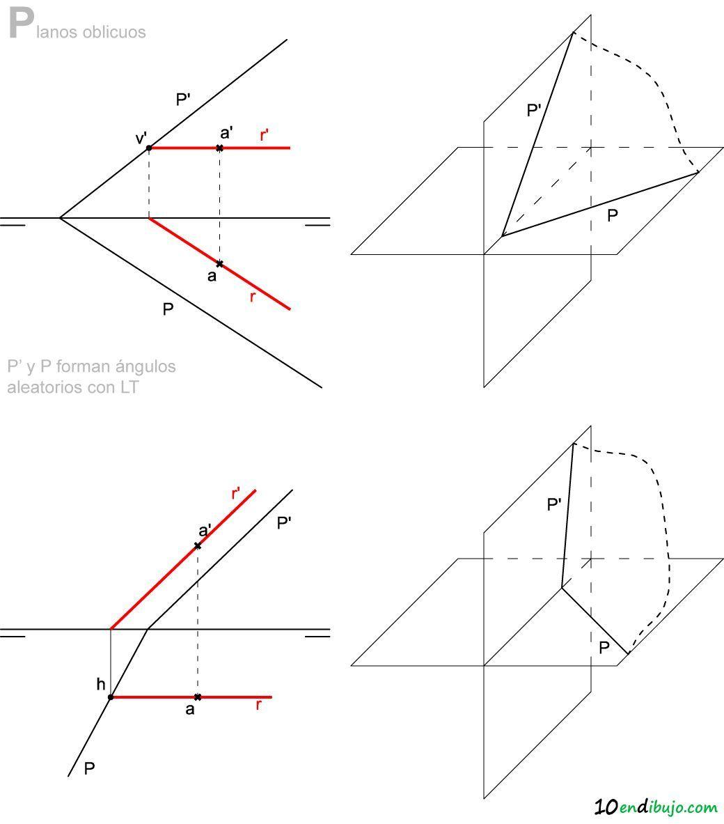 13 Plano En Diedrico Plano Oblicuo Tecnicas De Dibujo Clases De Dibujo Geometria Descriptiva
